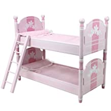 18 Inch Doll Bunk Bed, Doll Bedding & Ladder Doll Furniture for 18 Inch American Girl Doll Bed Rooms & More, Hand Painted Pink Doll Bed