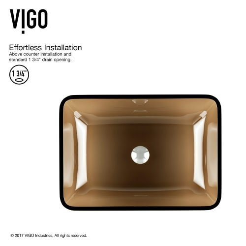 VIGO VG07087 Rectangular Sheer Sepia Glass Vessel Bathroom Sink by VIGO (Image #5)