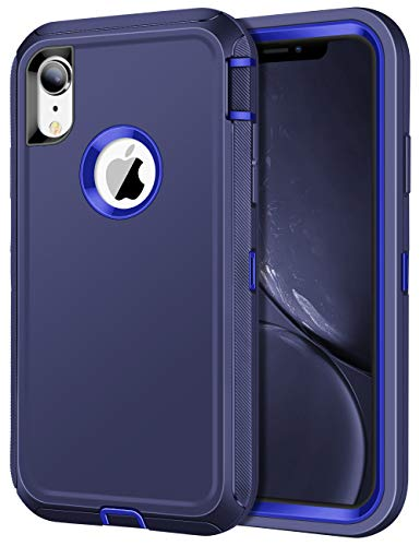 JAKPAK Case for iPhone XR Case Heavy Duty Shockproof Protective iPhone XR Case Scratch-Resistant Protective Shell with Hard PC Bumper+Soft TPU Back Cover for Apple iPhone XR 6.1,Deep Blue