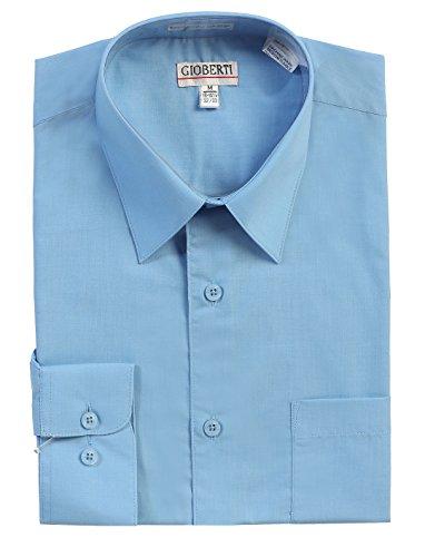 Gioberti Men's Long Sleeve Solid Dress Shirt, Sky Blue, Medium, Sleeve 33-34