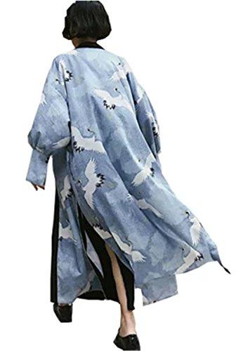 [イダク] レティース 和風 Vネック 日式风 羽織 通気 涼しい 原宿 BF風 ゆったり 大きいサイズ ロング日焼け止め服