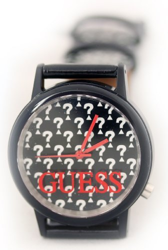 Guess Womens Stainless Steel Case Logo Black Leather Strap Watch W65019L2
