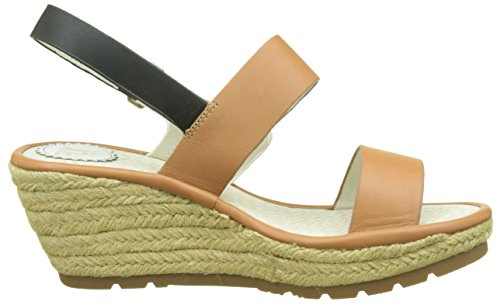FLY London Womens Ekan967fly Espadrille Wedge Sandal Tan/Off White/Black Leather bcR5Fg959j