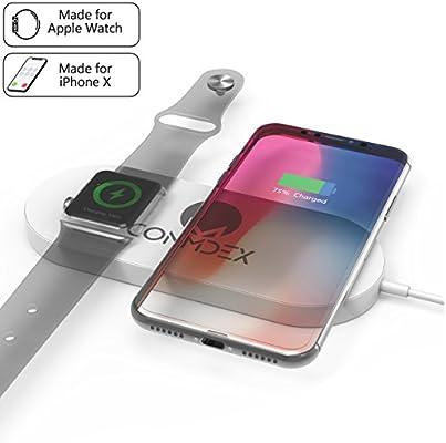 Cargador para iWatch CONMDEX QI Cargador inalámbrico con cargador rápido 7.5W Compatible con iPhone XR / Xs / Max Xs, iPhone 8, iWatch 2/3, Nexus 6, ...