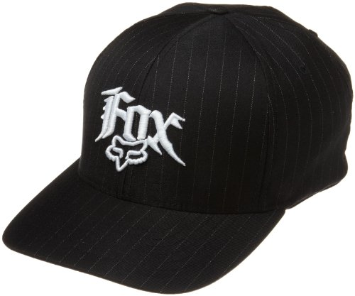 Black Pinstripe Hat (Fox Head Men's Next Century Flexfit Hat, Black Pinstripe, Large/X-Large)