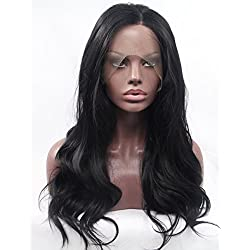 K'ryssma Natural Black #1B Lace Front Wig Long Natural Wavy Soft Fiber Hair Glueless Synthetic Wigs For Women Heat Resisitant 18 inches