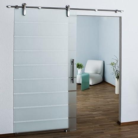 glasshop24 Glas-Schiebet/ür teilsatiniert SL5B DIN Links 1025 x 2050 x 8mm Glast/ür Schiebet/ür Deckenmontage Wandmontage Edelstahl