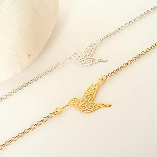 MANZHEN Lovely Origami Hummingbird Chain Bracelet Bird Bracelet for Girls