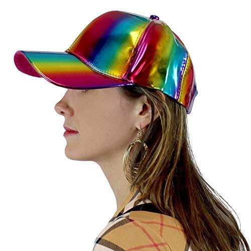 A&O International Floral Print Baseball Cap for Women Girl Flower Hat Adjustable - Metallic Rainbow
