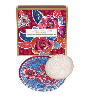 (Fragonard Parfumeur Rose Ambre Dish & Perfumed Soap - 150 g)