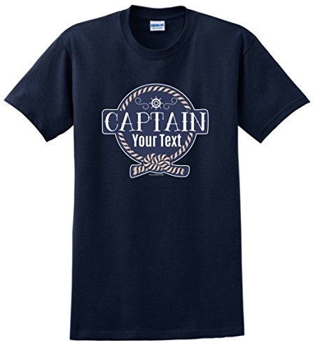 Customized Birthday Gift Boaters Personalized Boat Captain Sailing Boating Custom T-Shirt Large Navy ()