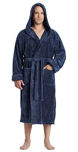 Arus Men's Hooded Satin Touch Fleece Bathrobe Turkish Soft Plush Robe Ocean Blue XXL