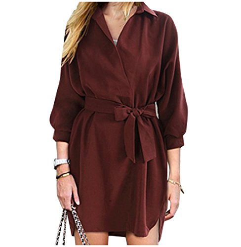 Wine Red Loose Women's Mini Dress Long Fit Wild Comfy Blouse Tunic Sleeve vCUPdw
