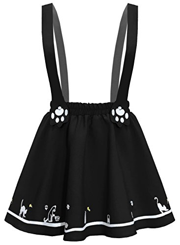 Futurino Women's Sweet Cat Paw Embroidery Pleated Mini Skirt With 2 Suspender (XS/S, Black) (Sweet Pleated)