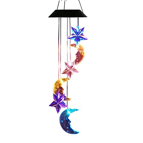 (Lainin Solar Wind Spinner Color Changing Star Moon Wind Chime Light Mobile For Home Outdoor Garden)
