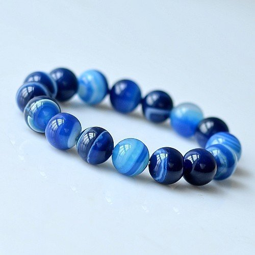 Natural sea blue agate beads bracelet 6-12 navy stripe natural agate bracelet blue stone bracelet jewelry Generic