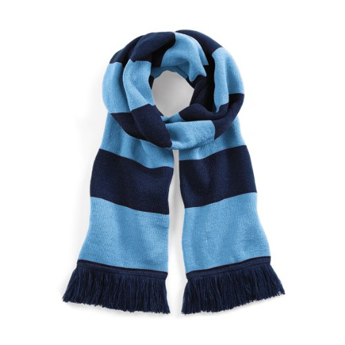 Beechfield Varsity Unisex Winter Scarf (Double Layer Knit) (One Size) (French Navy / Sky Blue)