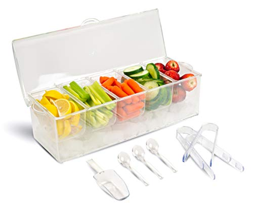 - Condiment Organizer with Reusable Containers and Lid | Chilled Bar Condiment Caddy | Server Set - Includes 3 tongs, 3 serving spoons, and 1 scoop | Perfect for Camping, Coffee, BBQ, Homes