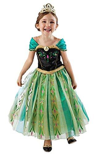 Callabero@ Kids Girls Princess Anna Elsa Deluxe Girl's Costume Enchanting Party Dress (100cm Fit 3-4T)