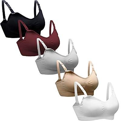 Padded Nursing Bra for Women Sleep Maternity Bralette for Breastfeeding Pack of 5