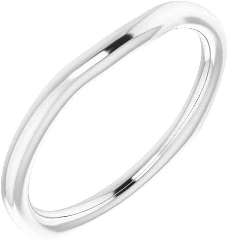 Solid Platinum Curved Notched Wedding Band for 4mm Square Ring Guard Enhancer - Size 7