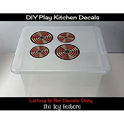 The Toy Restore Spare Decals Stickers DIY Kids Play Kitchen 4 Burners Play Stove Pretend Glossy Full Color: Toys & Games