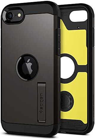 【Spigen】 iPhone SE ケース [第2世代] 米軍MIL規格取得 耐衝撃 三層構造 スタンド付き スマホスタンド カメラ保護 傷防止 衝撃 吸収 Qi充電 ワイヤレス充電 アイフォンSE (2020モデル) カバー シュピゲン タフ・アーマー ACS00949 (ガンメタル)