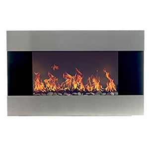 Northwest 80-EF421S Electric Fireplace with Wall Mount and Remote, Stainless Steel