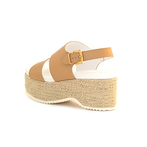 SANDALI DONNA JEANNOT ZEPPA IN PELLE BEIGE CUOIO MADE IN ITALY