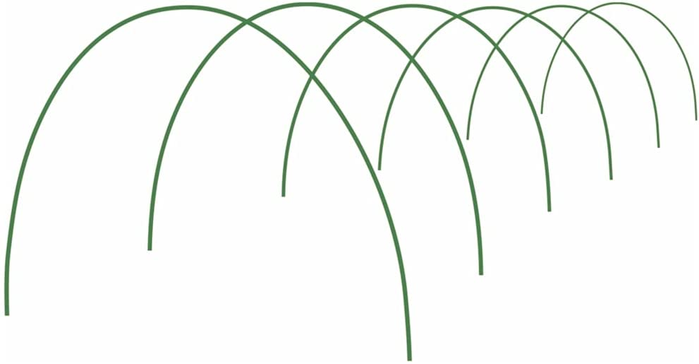 Garden Hoops for Row Cover Hoop House Kit Greenhouse Hoops Greenhouse Frame Garden Tunnel Fiberglass Green 6.56ft (6 Pack)