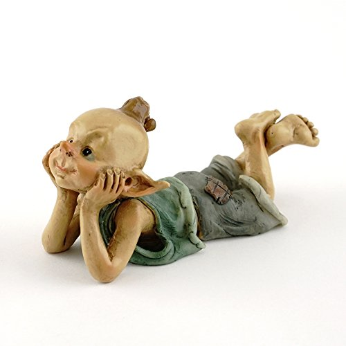 (Top Collection Miniature Fairy & Terrarium Garden Pixie in Thought Statue, Small)
