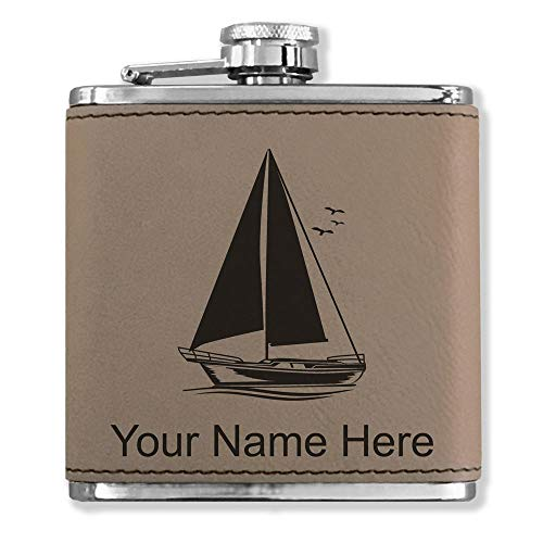 Faux Leather Flask, Sailboat, Personalized Engraving Included (Light Brown)