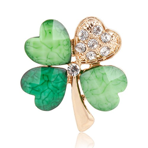 DARLING HER Light Green 4 Leaf Clover Crystal Irish Shamrock Brooch Lapel Collar Pins for Men Or Women ()