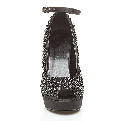 Noir Haut Escarpins Ajvani Pointure Plateforme Femmes Bout Chaussures Ouvert Talon Gemmes wfvE6qHf