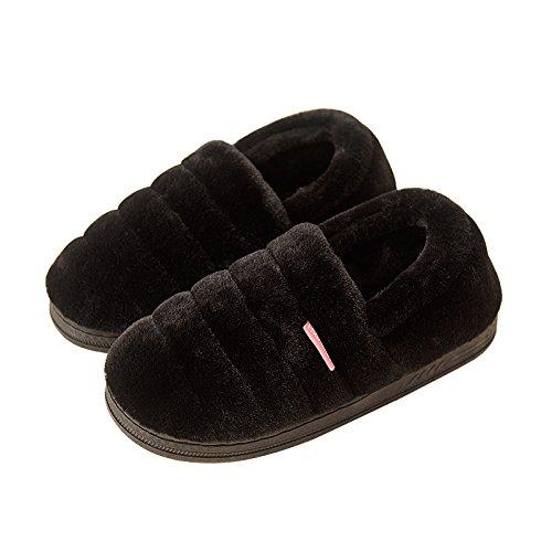Cotone habuji pantofole inverno con tacco borsa con un caldo pacchetto office maternità postpartum scarpe, 39-40, nero