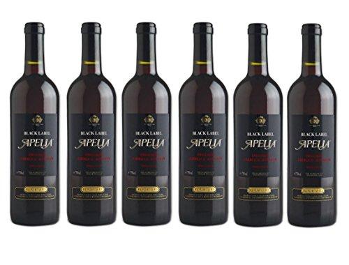 6x Apelia Black Label 750 ml Rotwein lieblich 11,5 % + 2 Probier Sachets Olivenöl aus Kreta a 10 ml - griechischer roter Wein