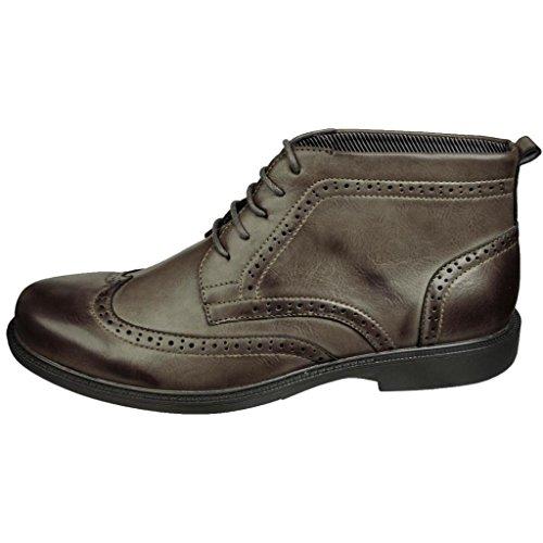 Sedagatti Men's Khaki Brogue Wingtip Chukka Boots
