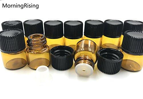 MorningRising 100pcs 1ml (1/4 Dram) Amber Mini Glass Bottle Portable Bottle 1cc Amber Sample Vial Small Essential Oil Bottle Travel Must
