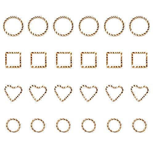 (PandaHall Elite 24 Pcs Brass Open Bezel Charm Golden Blank Frame Hollow Pendants 4 Styles for UV Resin Crafts Jewelry Making)