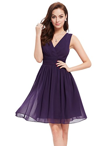 Ever Pretty Womens Empire Waist Chiffon Wedding Guest Dress 8 US Purple