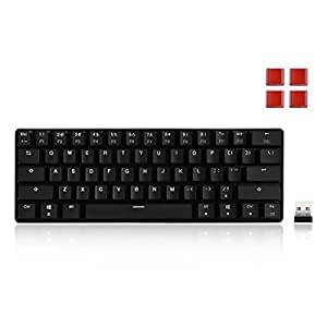 Velocifire K61WS Wireless Mechanical Keyboard 61-Key Compact Size 60% Mini Size with Brown Switches for Copywriter, Gamer and Programmer(Without Backlit)