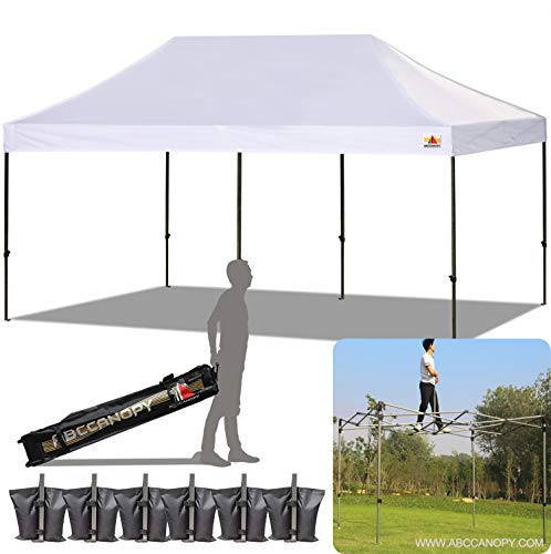ABCCANOPY (18+ colors) 10x20 Pop up Tent Instant Canopy Commercial Outdoor Canopy Wheeled Carry Bag Bonus 6x Weight Bag (white)