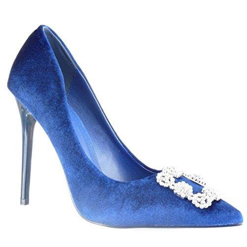 Zapatos azules Tacón de aguja de punta abierta sexy Angkorly para mujer I024mG2eL