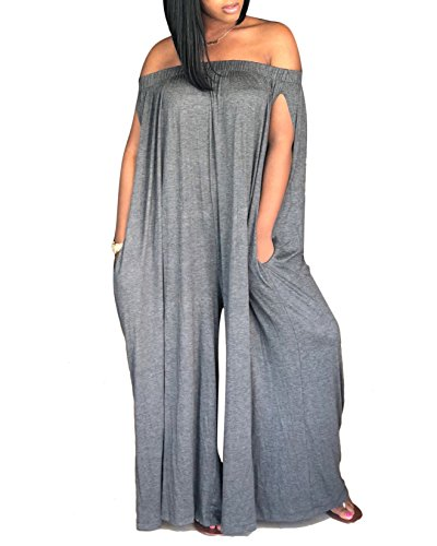 Women's Off Shoulder Sleeveless Loose Wide Leg Long Pants Jumpsuits Rompers with Pockets Grey M