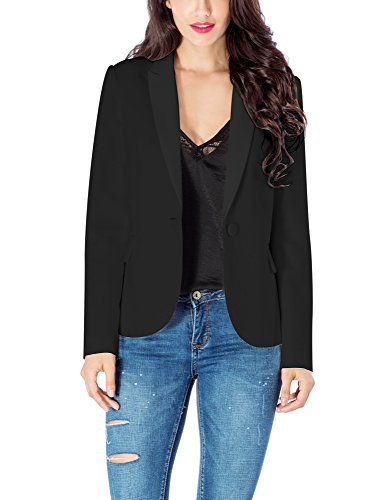 LookbookStore Women's Black Notched Lapel Pocket Button Work Office Blazer Jacket Suit Size XXL