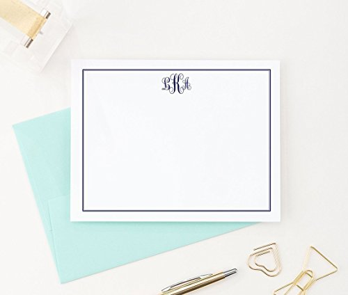 Monogrammed Stationary cards, Monogram Stationery Set, Monogrammed Note Cards, Monogrammed Gifts for Women, Your Choice of Colors, Set of 10 flat note cards and envelopes