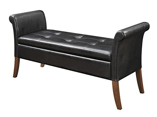 Convenience Concepts Designs4Comfort Garbo Storage Bench, Black - Black Leather Bench