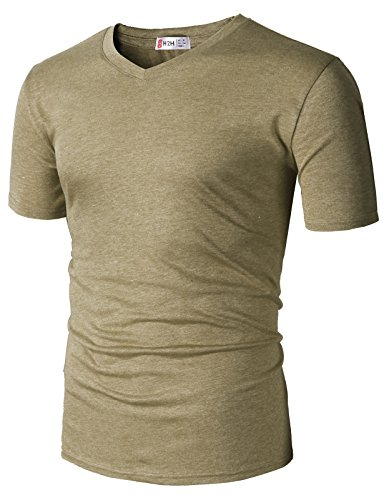 H2H Mens Casual Premium Soft Spandex Cotton Short Sleeve V-Neck T-Shirts HEATHERBEIGE US 3XL/Asia 4XL (CMTTS0228)
