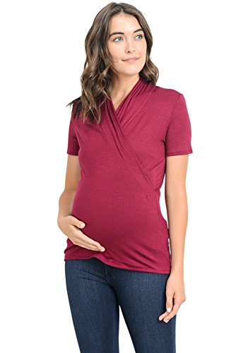 LaClef Women's Short Sleeve Surplice Maternity Nursing Top (Large, Burgundy)