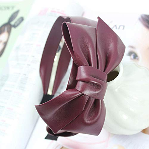 Fashion Ladies Women Bow Knot Headband Leather Wide Hairband Head Band Headwear (Colors - wine red)